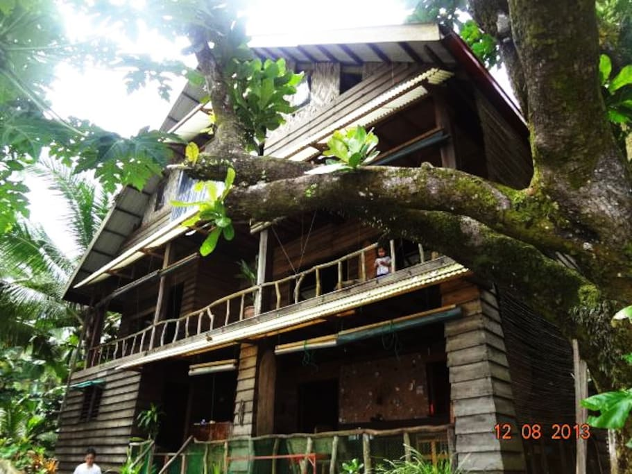 Main house with 1 double bedroom, 1 single bedroom, 2 loft bedroom and an open space