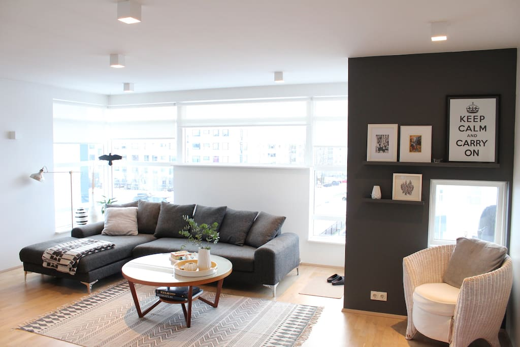 Living room area, open and bright