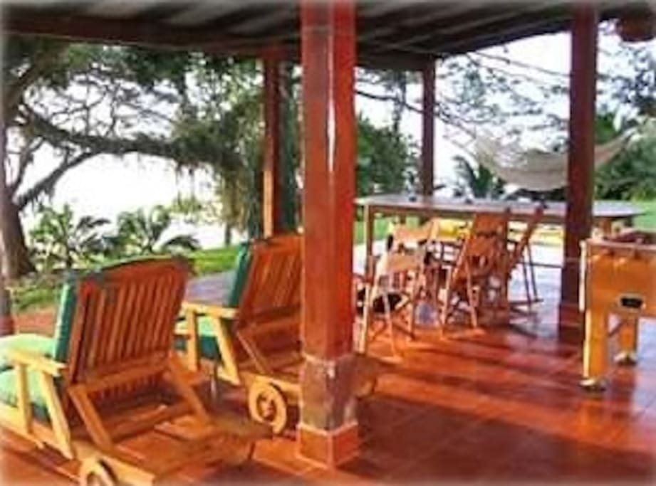 Large Front Porch for Views, Relaxing, Dinning, and Foosball