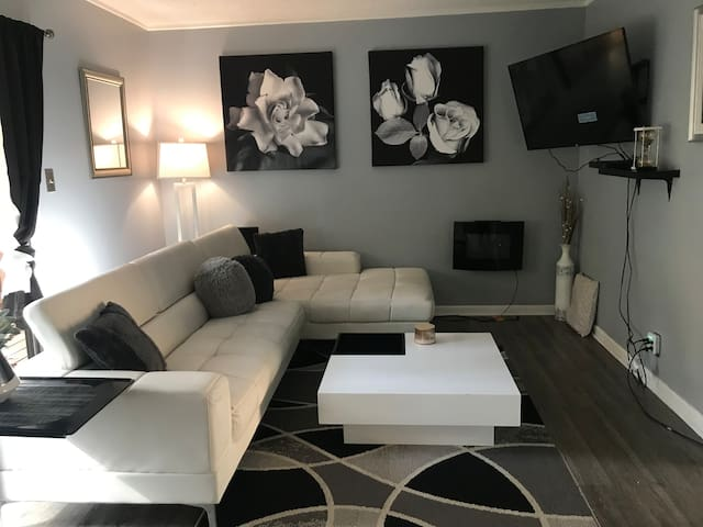 Living room area, all modern offwhite couch from Wayfair along with the white acrylic area table with 2 beautiful photo art stretched on canvas-also from Wayfair. A electric fireplace and a 55 inch flat screen
