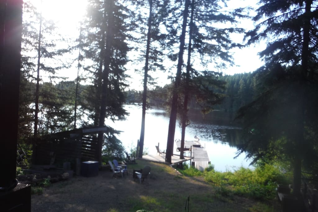 View from the front deck, looking across the lake