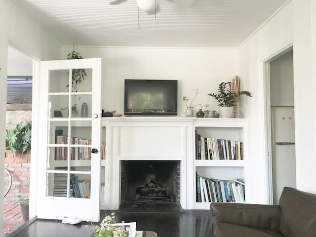 Enter into the living room with fireplace