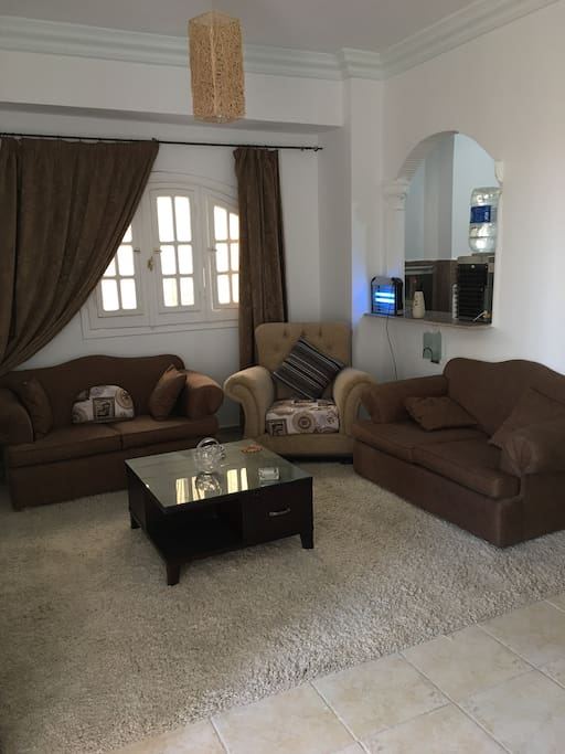 The sitting room has satellite tv and widescreen TV and plenty of seating.
