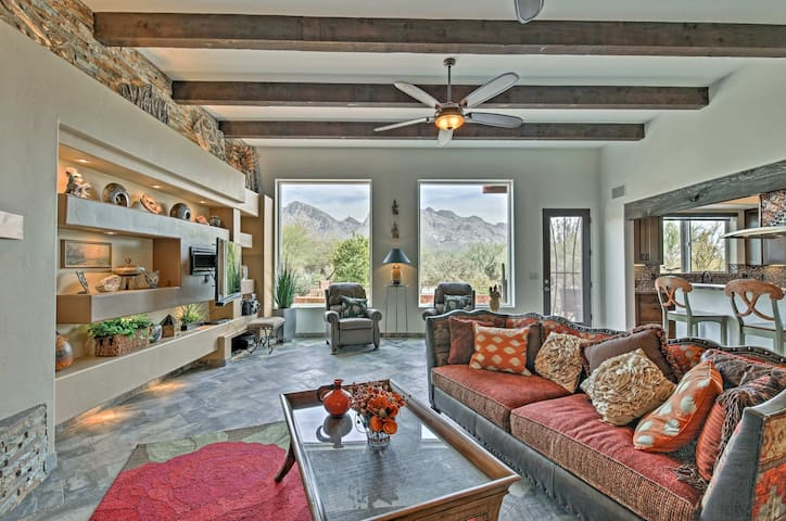 Enjoy mountain views from expansive windows in the 2,560-square-foot interior.