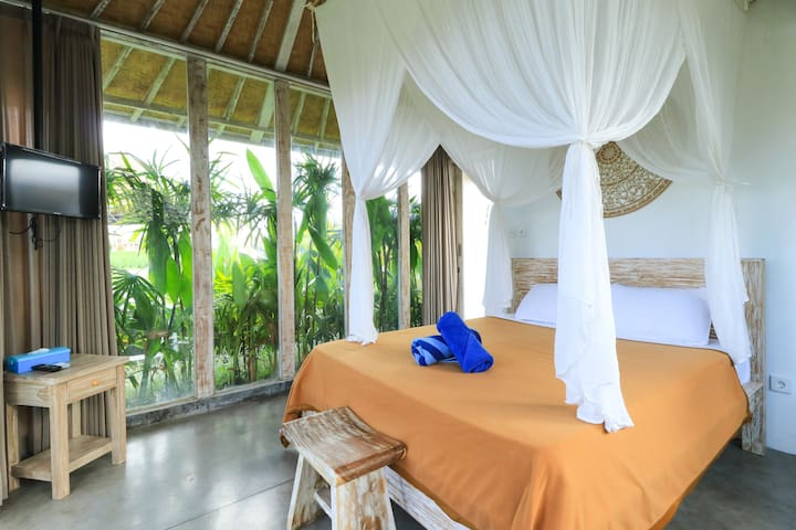 Canggu Stay with calming area and rice field view