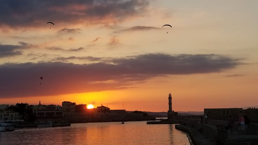 Venetian port, Old Town, Chania, 10 min walk from this house