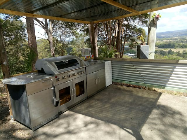 Ouside camp kitchen with a view