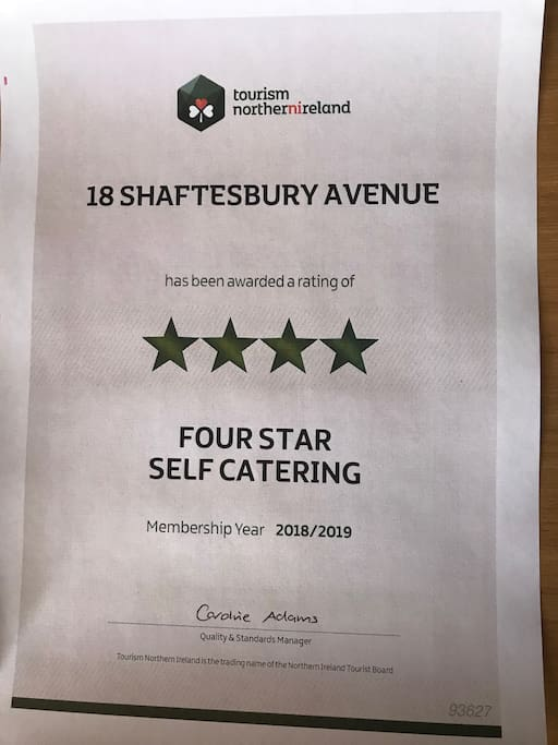 Awarded 4 stars from the Northern Ireland Tourist board