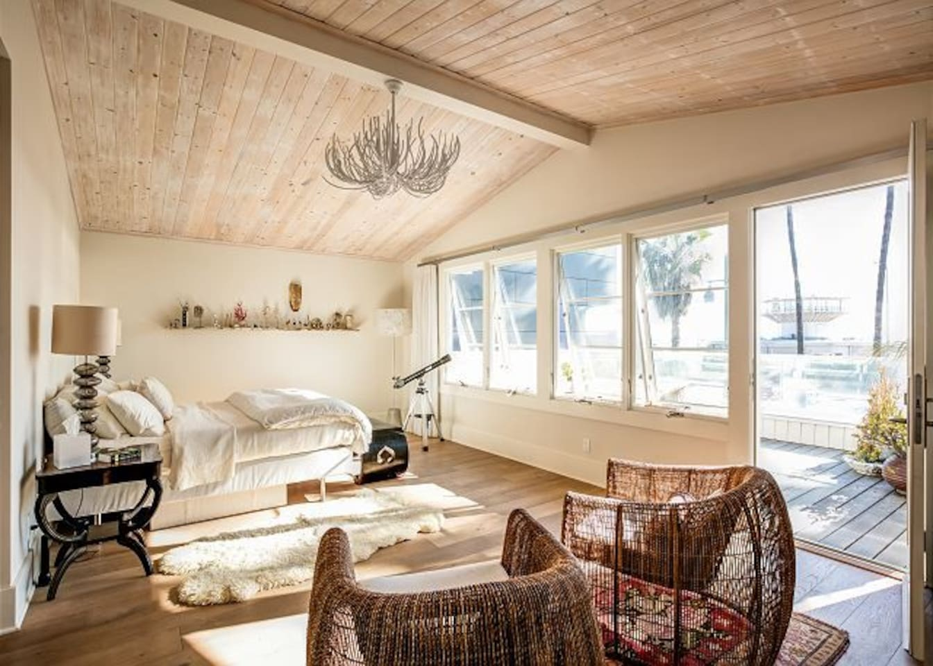 Master bedroom opens onto large deck perfect for watching sunset.