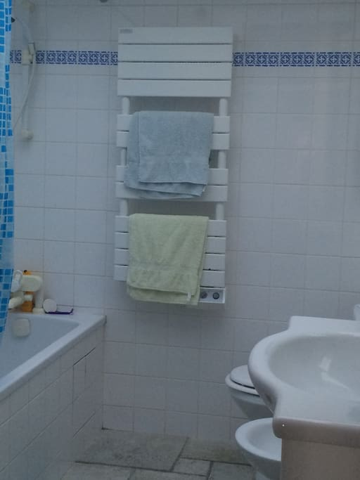 Salle de bain avec baignoire.