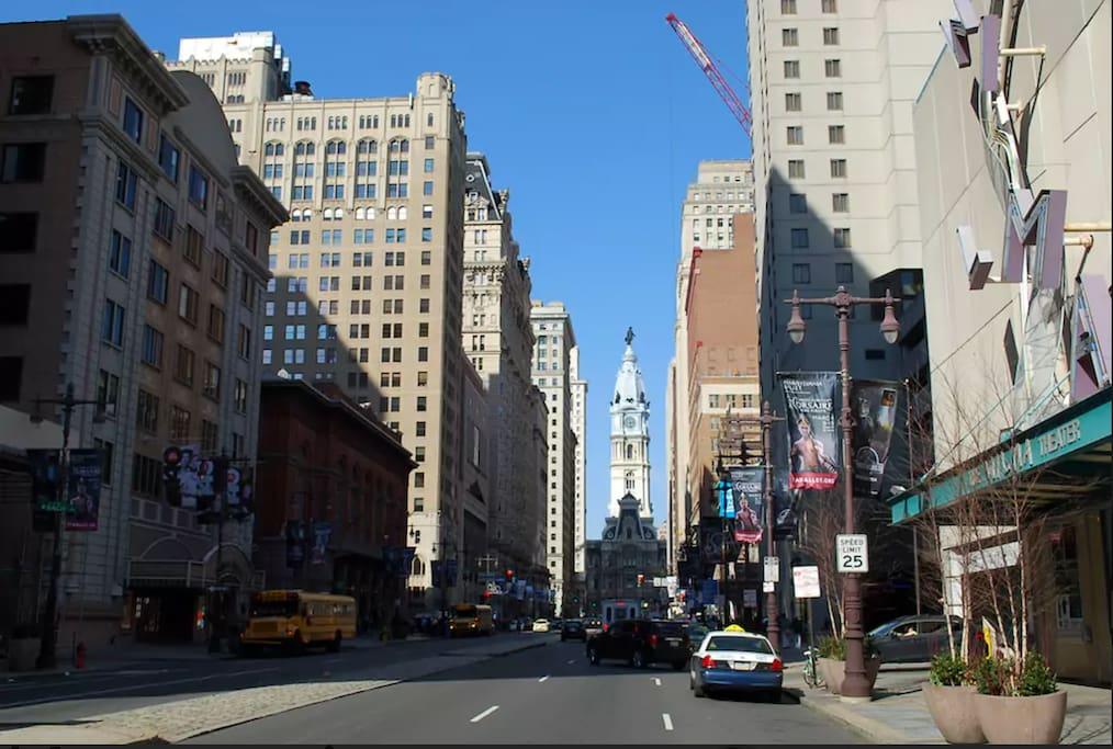 Apartment is one block away to Broad Street, Philadelphia City Hall