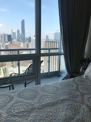 Beautiful downtown view from bedroom.