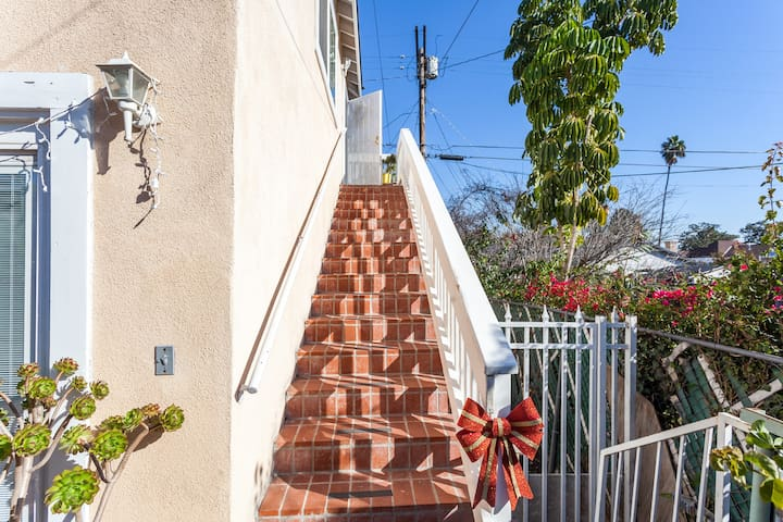 Stairway to treetop retreat. Very comfortable. Come and enjoy.