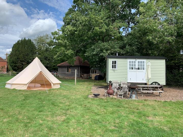 Bucks Green Place Shepherds Hut with Bell Tent
