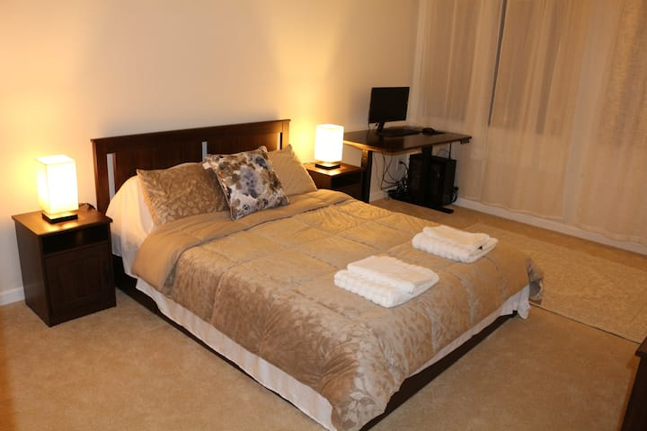 Private bathroom, spacious room with queen bed