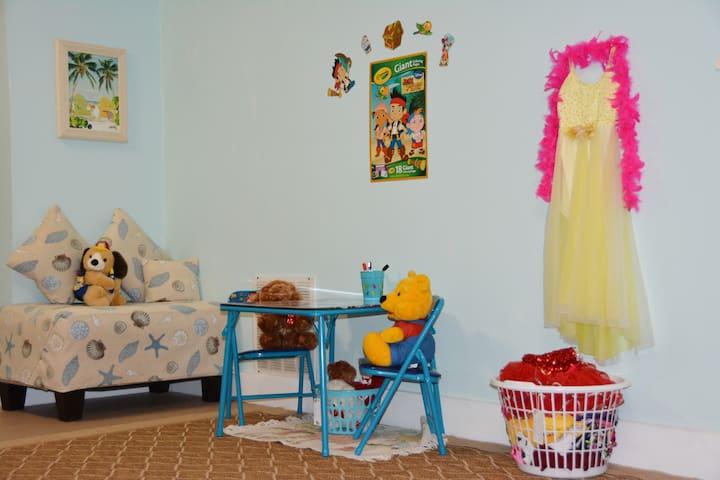 Kids corner - coloring, dress up...