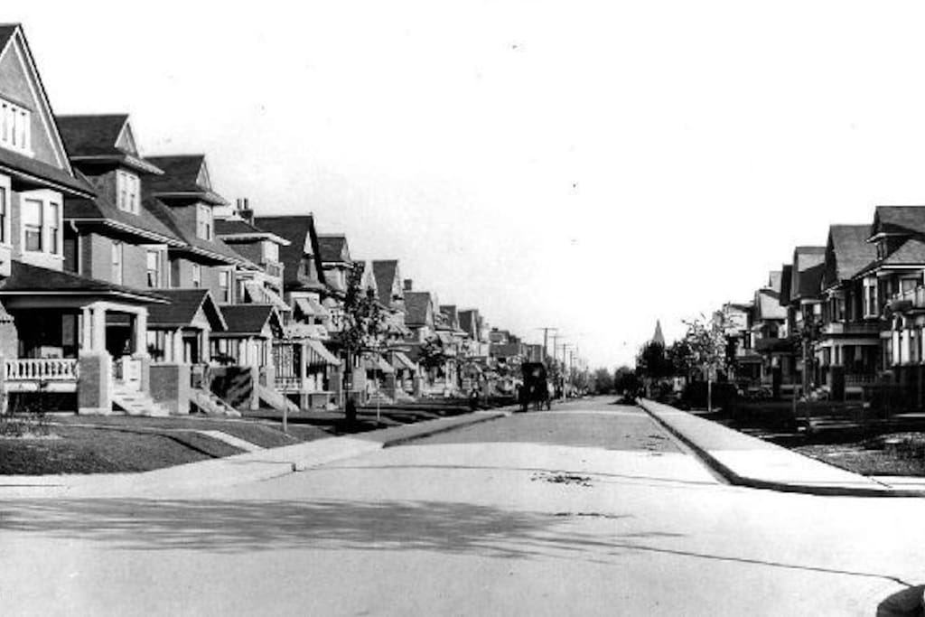 This historic street in about 1910.  Looks the same now, except that the trees are now twice as high as the houses