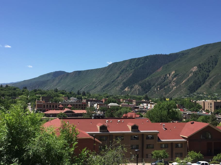 View from balcony overlooking downtown Glenwood Springs.