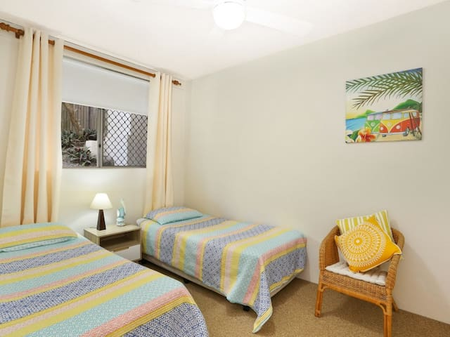 Bedroom 2 - a comfy room for 2 adults or 2 children. Lots of storage and even some toys and games for the kids