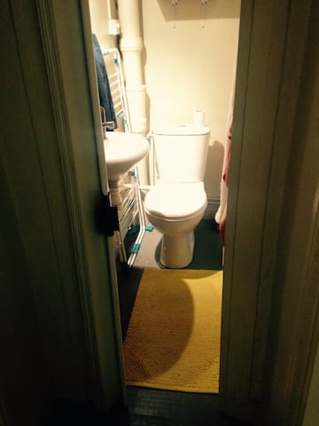 Salle de bain étroite mais pratique