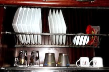 * All kinds of dishes and cups with various sizes and shapes
