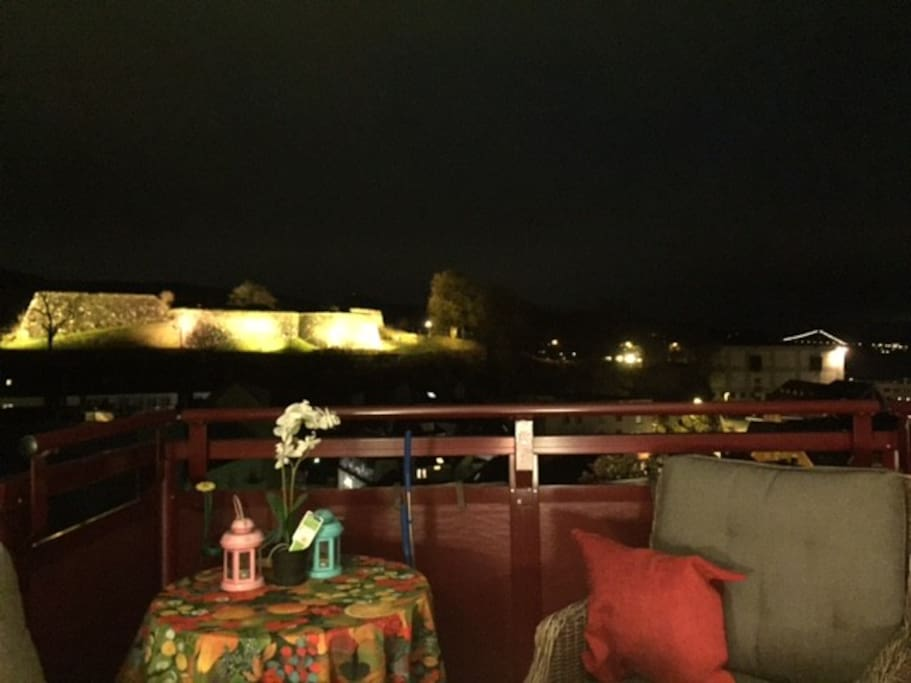 View from our balcony of the fortress, on the left Askøy Bridge, and the fjord