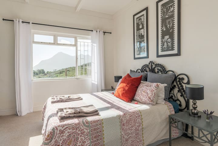 the bedroom overlooks the ocean