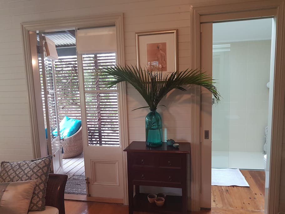 French doors from King Suite to verandah.  Ensuite to the right.