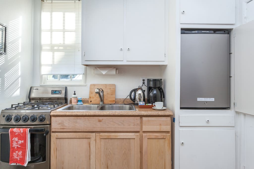 Enjoy our kitchenette so you can make a Home-Away-From-Home-Cooked meal.