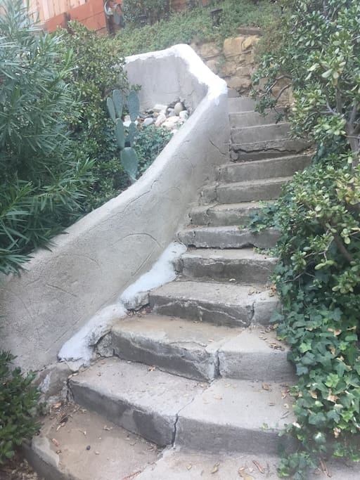 Staircase leading to and from road.