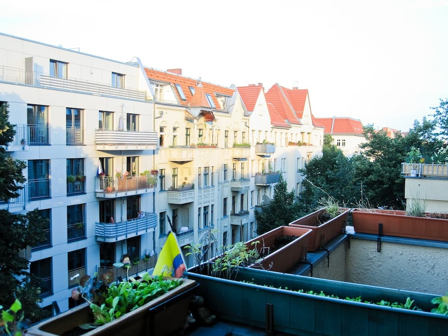 flat in the fourth floor, view from the balcony, sunset