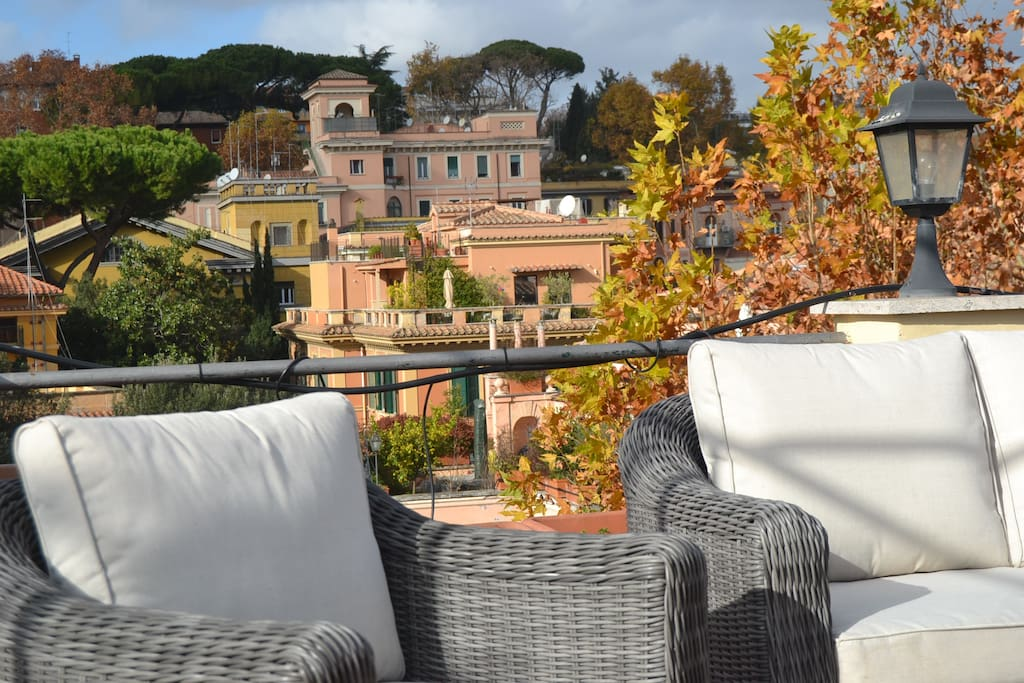 Rooftop terrace relaxing sofas