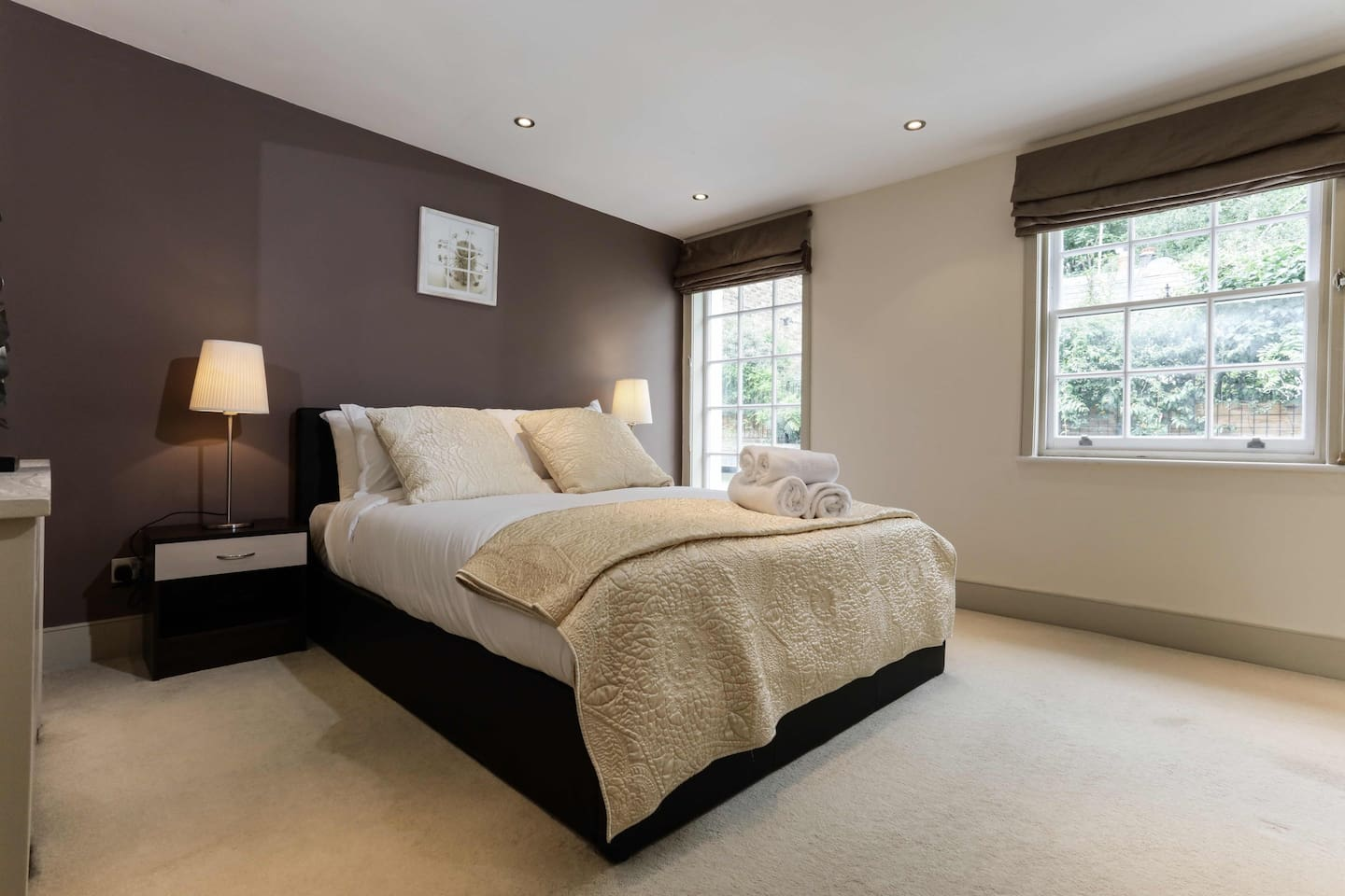 The bedding, linen and towels are all laid out for you as displayed on arrival