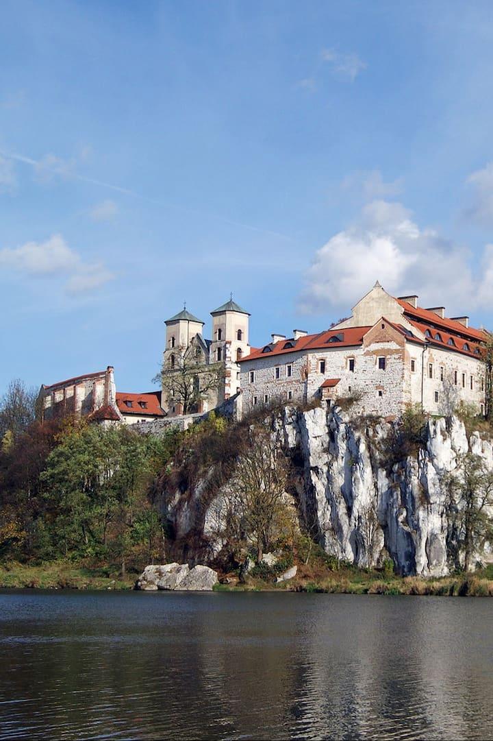 The monastery overlooks the Wisła River