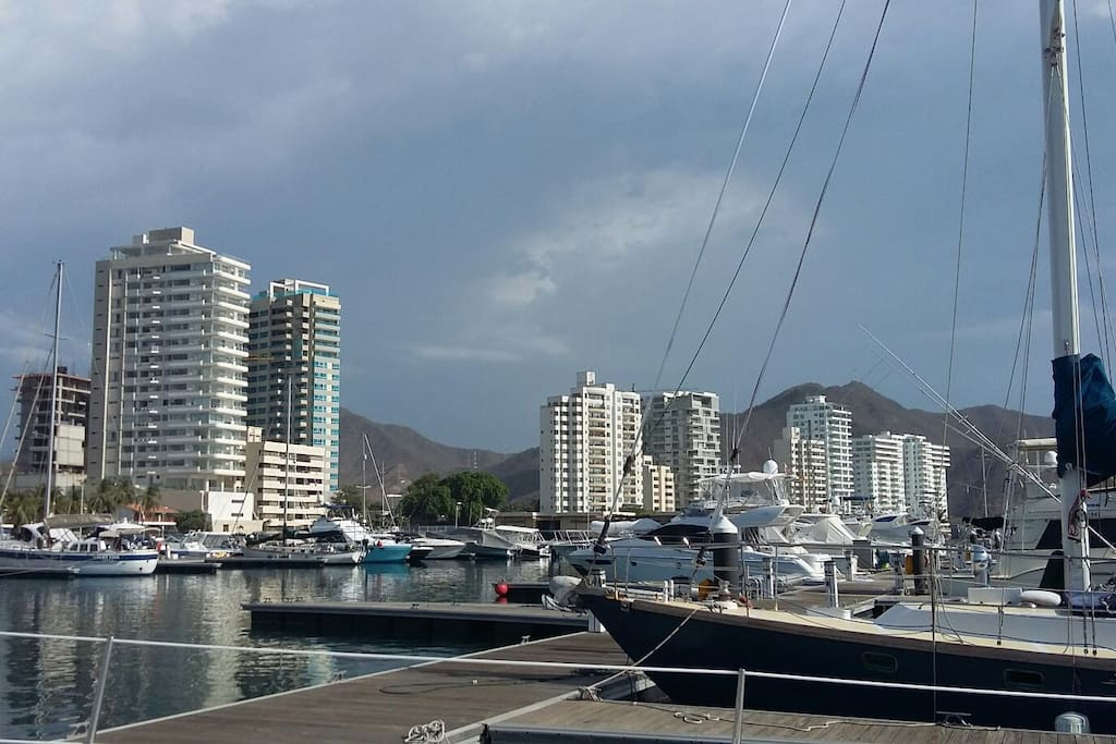 The view from the marina