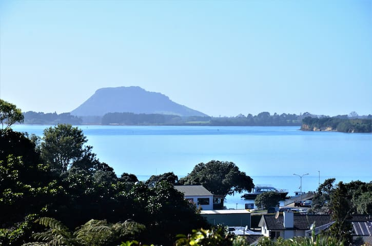 View to Mount Maunganui and Omokoroa jetty.