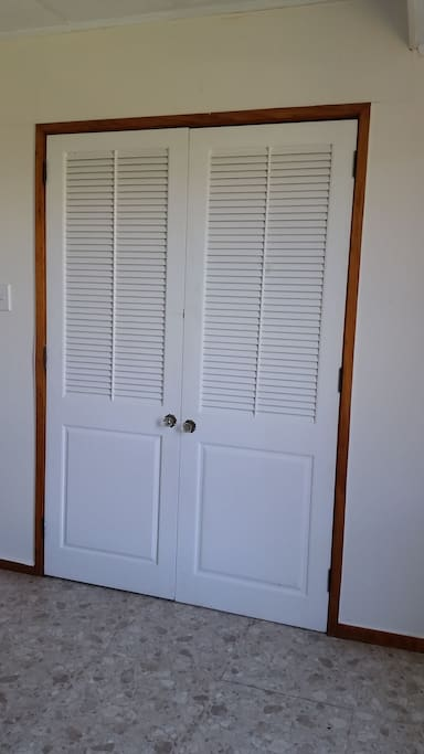 Spacious wardrobe in room