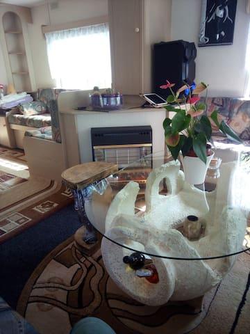 Noch einmal der Wohnbereich aus anderer Perspektive mit Gas -Kamin. Glastisch ist eine Amphore.