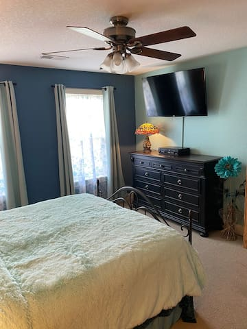 Master bedroom with ceiling fan and tv and DVD-VHS.  Has large walk-in closet