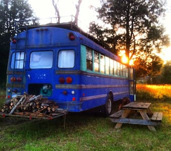 Purple Bus at Cane Creek Farm in Snow Camp