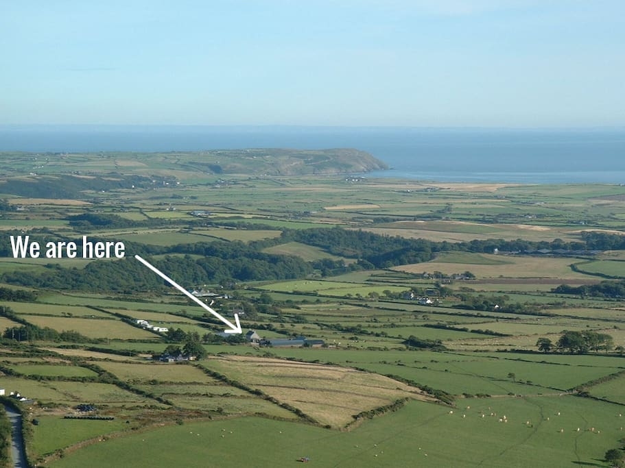 We are here - in the heart of the Llyn Peninsula - only 5 miles wide!
