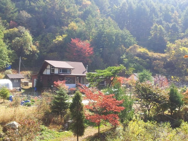 미악골 산방 / Hand Craft Log home, Quiet Cottage Chalet