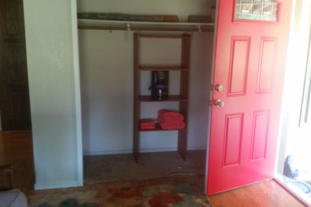 Wheelchair accessible entrance into bedroom with futon; your private entrance.