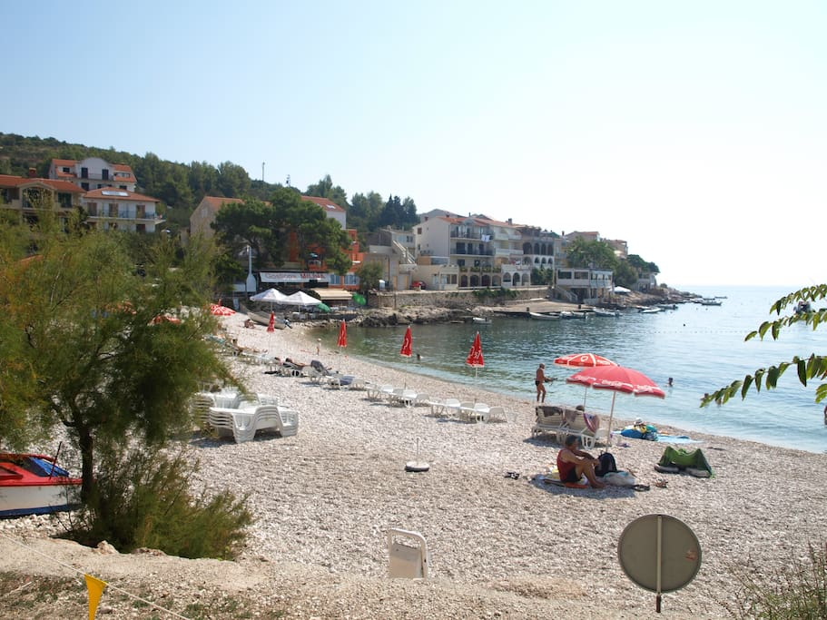 the first beach of Milna, we have four beautiful beaches here, you can reach three of them with a short walk.