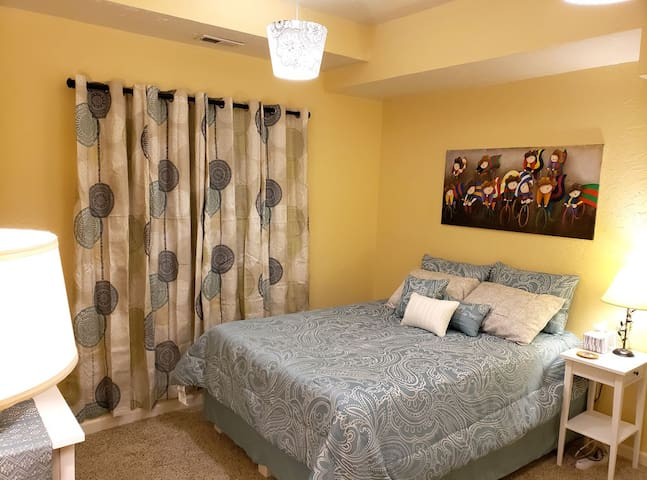 The Serene Bedroom is located on the first floor.
