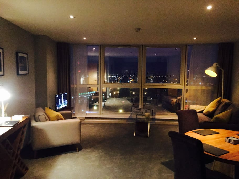 A stunning photo of our lounge at night taken by one of our guests