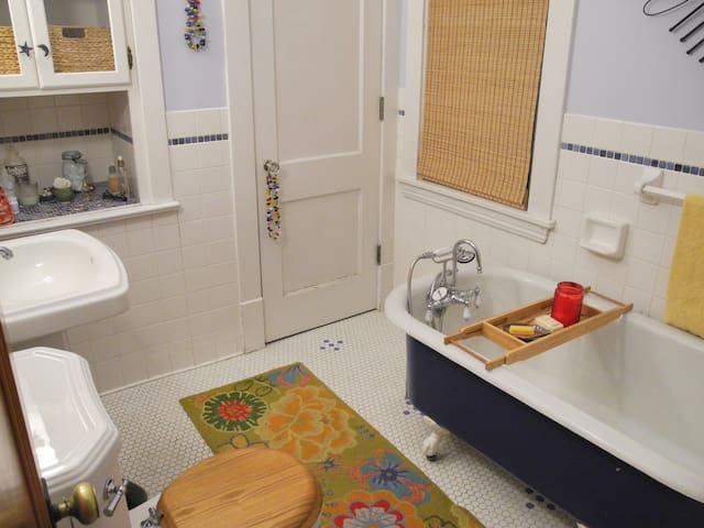 Your private bath, a few steps from your room. There is a shower upstairs.