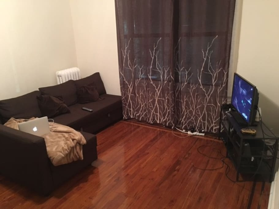 Big and warm living room with sofa bed and TV