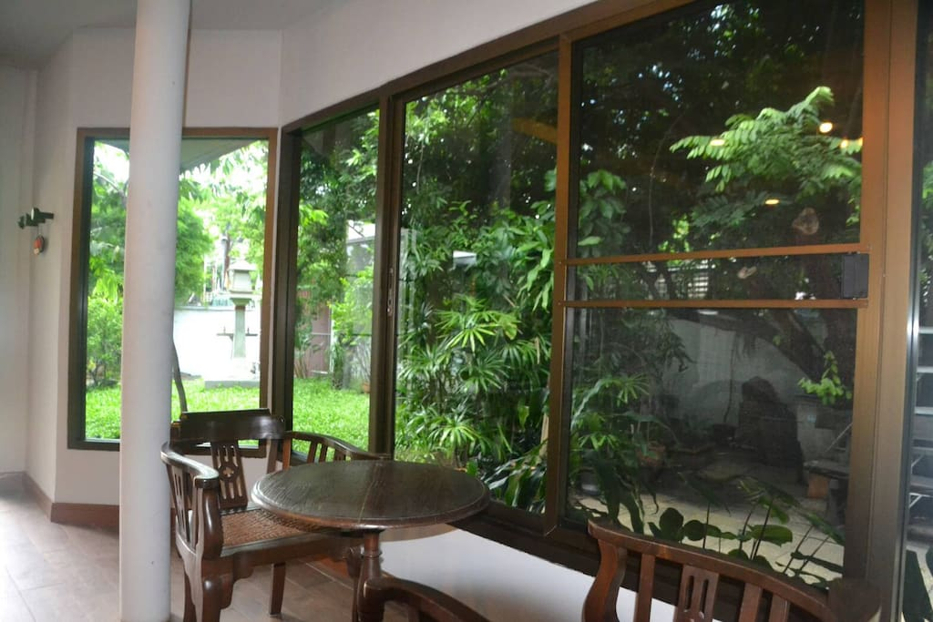 Inside your room, you can enjoy coffee/ tea in a private ambience while looking at garden outside
