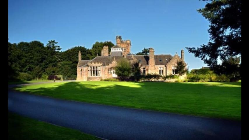 A nice picture of the grounds as you enter the drive  of Lesmurdie House which are for everyones use if you are lucky enough to get some sun in Scotland!
